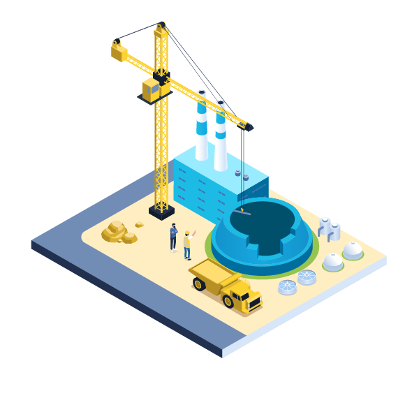 nuclear illustration with a construction crane